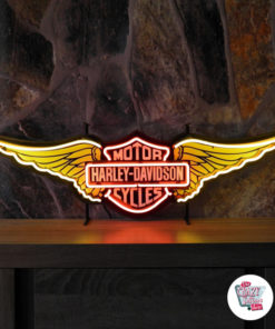 Neon Harley Davidson Wings Yellow Sign