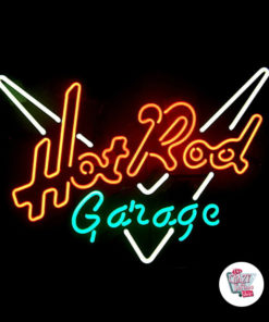 Neon Hot Rod Garage-plakat