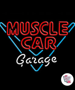 Neon Muscle Car Garage Poster