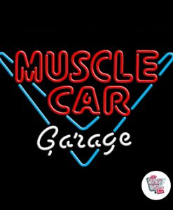 Retro Neon Sign Muscle Car Garage