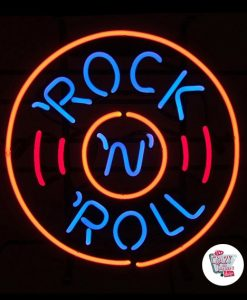 Retro Neon Rock and Roll Cercle