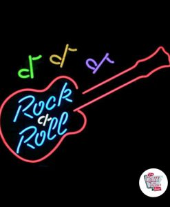 Retro Neon Sign Rock and Roll Guitar