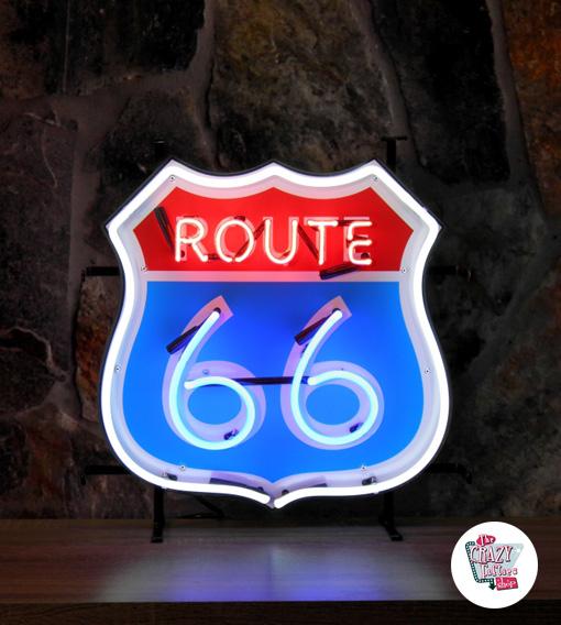 Neon Route 66-skilt med baggrund