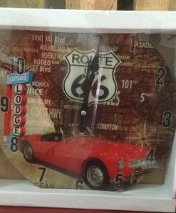 Reloj Pared Red Car Route 66