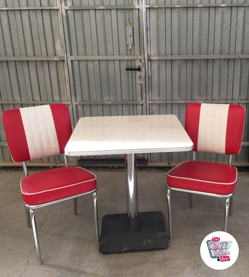 Retro Outlet Table Set med 2 Premium Retro Stolar